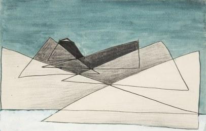 Kompozycja abstrakcyjna trójkąty nr 150 niedatowany akwarela tusz ołówek gwasz papier