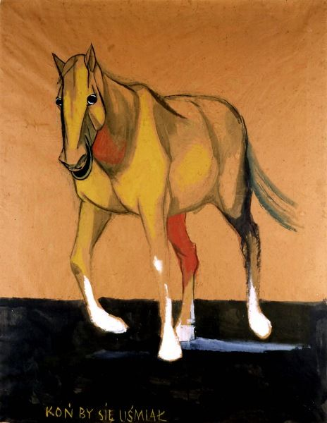 Koń by się uśmiał 1955 gwasz akwarela papier pakowy naklejony na płótno 130 x 99 cm